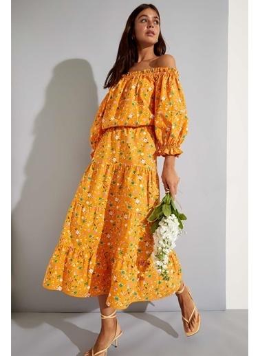 DeFacto Volanlı Çiçek Desenli Etek Sarı